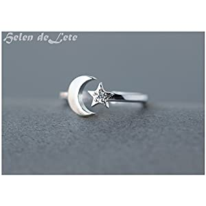 Helen de Lete Moon and Star Sterling Silver Open Ring