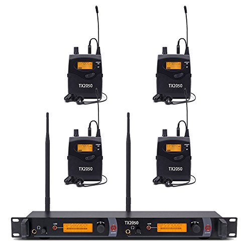 (Wireless in Ear Monitor System UHF Pro Audio 2 Channels 4 Receivers Bodypacks Monitoring with LCD Display)