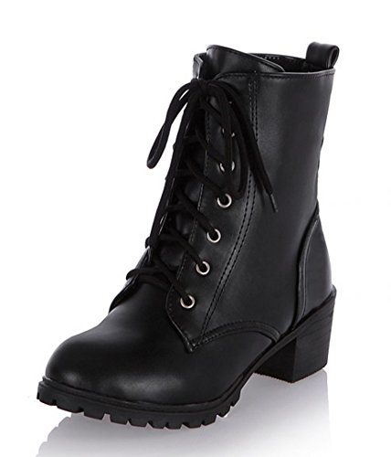 Aisun Women's Fashion Cool Round Toe Block Mid Heel Dress Lace Up Ankle Martin Boots Booties Shoes Black 8 B(M) US (Combat Boots For Teens)