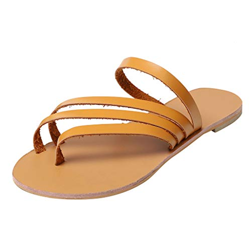 Sunhusing Summer Women Open Toe Breathable Beach Sandals Casual Rome Slip-On Flat Shoes Brown