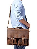 "Kattee Handmade Genuine Leather Satchel 15"" Laptop Briefcase Messenger Bag"