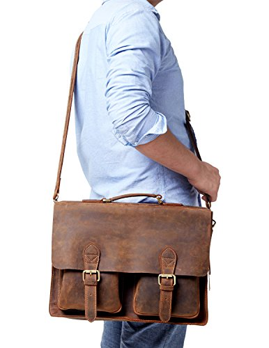 Kattee Full Grain Leather Vintage Briefcase Messenger Bag Coffee by Kattee