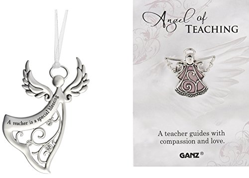 DG Shopping Spree Teacher Angel Ornament with Angel Pin Set - A Teacher is a Special Blessing (2 Piece - Pin Angel Blessing