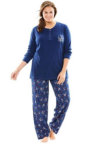 Printed Thermal Henley - Dreams & Co. Women's Plus Size Printed Thermal Knit Henley Pj Set Evening Blue