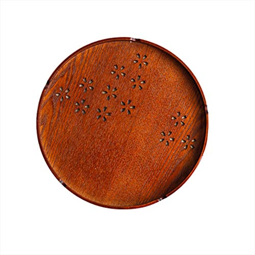 (Round Cherry Blossom Hollow Wooden Tea Tray, Fruit Snack Plate Unbreakable Party Kitchen Gift,30cm)