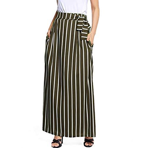 DEATU Ladies Skirt, Teen Women Casual Classic Striped Ankle-length Empire Vintage Long Skirt Dress(Green,XL) -