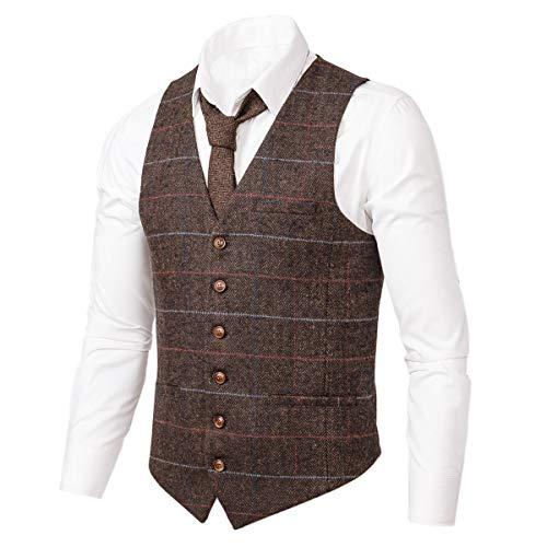 VOBOOM Men's Slim Fit Herringbone Tweed Suits Vest Premium Wool Blend Waistcoat (Style2- Plaid Dark Coffee, XL) ()