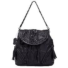 Soozann® Raw Patchwork Fashion Genuine Leather Handbags - Black Collection