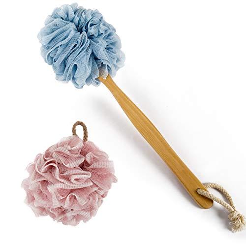 Loofah Shower, BEALUXUR Bath Sponge Set Includes 1 Long Handled Back Scrubber & 1 Shower Brush for Men & Women Body, Face and Spa Washing