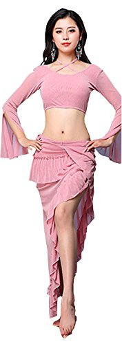 M2s⁺ Woman's Dress Dance Party Indian Tango Ballet Lyrical Latin Belly-Dance Ethnic 2-Piece (Red, Black, Pink, Grey, Size L) (Pink)