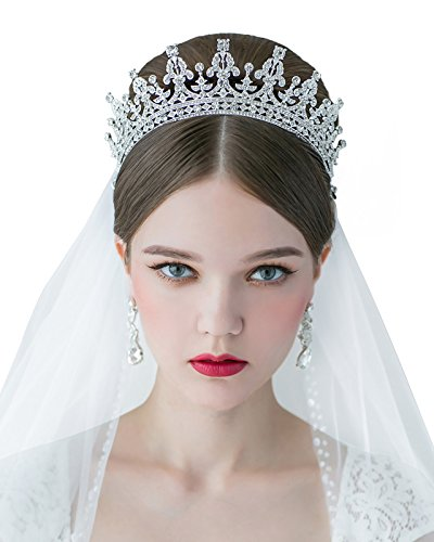 SWEETV Royal Wedding Crown CZ Crystal Pageant Tiara Bridal Headpiece Women Hair Jewelry, Silver+Clear