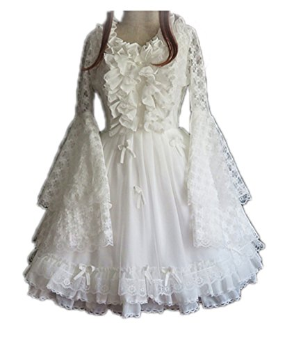Gothic Snow White Costumes (Nuoqi Womens Lolita Sweet Lace Lotus School Girl Buble Dress (Medium, White-Long sleeves))