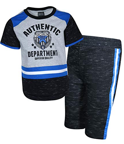 Set Short Terry French - Quad Seven Boys 2-Piece French Terry Short Set with Matching Shirt, Grey No Mercy, Size 12/14'