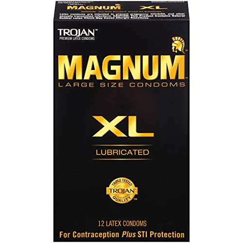 Trojan Magnum Lubricated Latex Condoms - Trojan Magnum XL (Extra Large) Lubricated Condoms, 12 Count