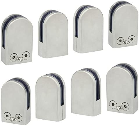 304 Stainless Steel Glass Clamp Clip for Stair Window 10-12mm 12-Pack - Upgraded Discoball 12 x