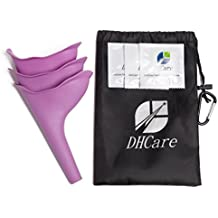 DHCare Female Urination Device Universal Portable Urinal, Womens Lightweight Silicone Urinal Great for Outdoor Camping Travel, Purple, 3 Piece