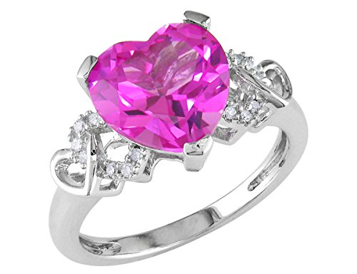 Created Pink Sapphire Heart Ring 4.20 Carat (ctw) in Sterling - Heart Ct 4.2