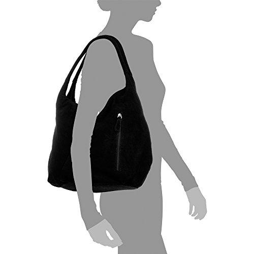 Y Negro Shopping bolso Grabado Piel De Black Cm Motivo Made Italiana Lacado Bag 33x33x18 Italy Trenzado Auténtica Con Vera Firenze Geométrico Mujer Mate Artegiani Pelle bolso Cuero Genuino In Color ap5wqpEA