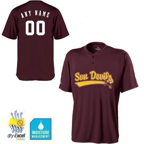 Authentic Ncaa Jersey - Adult Medium ASU/Arizona State Sun Devils CUSTOMIZED 2-Button Cool Base Wicking dry-Excel NCAA Officially Licensed Replica Jersey Shirt