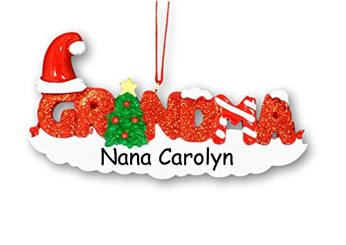 Personalized Colorful Holiday Grandparent Glittered Grandma with Santa Claus Stocking Cap and Candy Cane Hanging Christmas Ornament with Custom Name ()