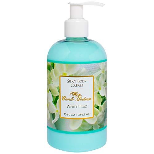 Camille Beckman Silky Body Cream, White Lilac, 13 Ounce