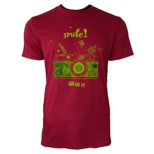 SINUS ART ® Analoge Kamera – Smile Herren T-Shirts in Independence Rot Fun Shirt mit tollen Aufdruck