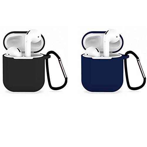 [2Pack] Compatible with Airpods 1/2 USB Wire Charging Case, Protective Thicken Airpods Cover Soft Silicone Chargeable Headphone Case with Anti-Lost Carabiner-Black+darkblue (Case Mike Wazowski 4 Iphone)
