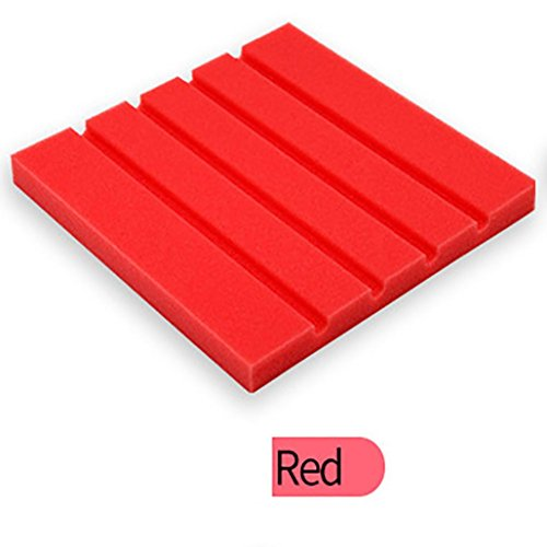Sound Foam Panels,vmree 25x25x2cm Acoustic Studio KTV cancelling Foam Panel soundproof Absorption Sponge (Red)