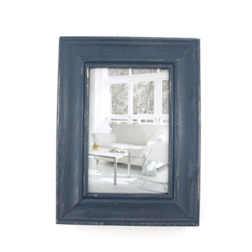Blue Rustic Desk (Rectangular Wood Desktop Family Picture Frame with Glass Front (Blue, 4x6))