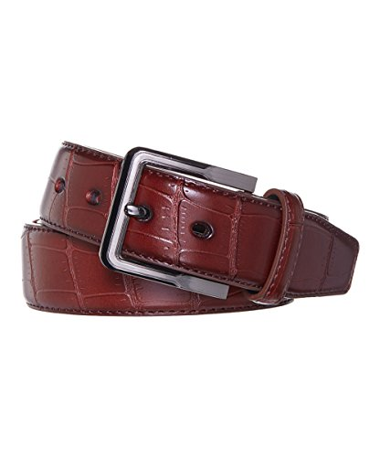 [Men's Belt Crocodile Pattern -Assorted Colors (Large, Brown)] (Brown Crocodile Belt)