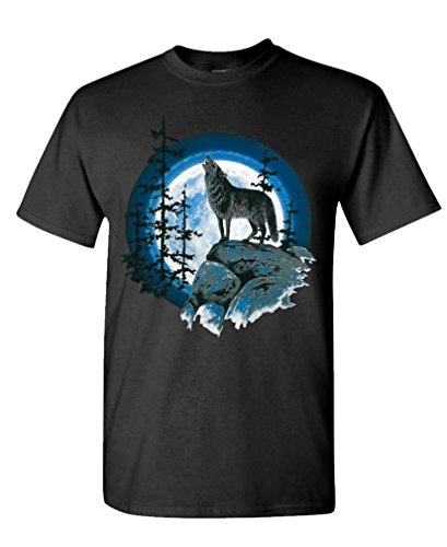 WOLF HOWLING AT MOON american wolves spirit - Mens Cotton T-Shirt, XL, Black ()