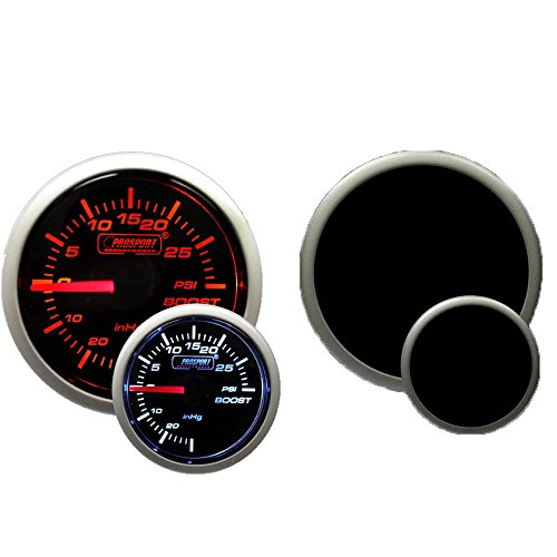 Boost Gauge- Electrical Amber/white Premium Series with Peak Recall and Warning 52mm (2 1/16