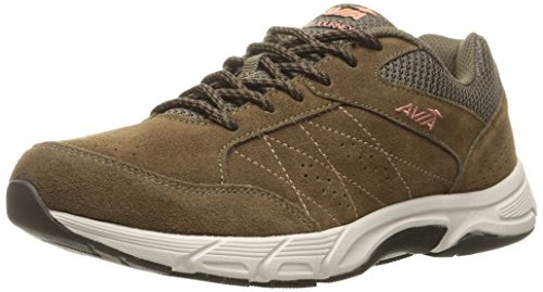 AVIA Women's Avi-Journey Walking Shoe, Chocolate Chip/Soft Coral/Snowline ECRU, 7.5 M US (Womens Shoes Leather Walking)