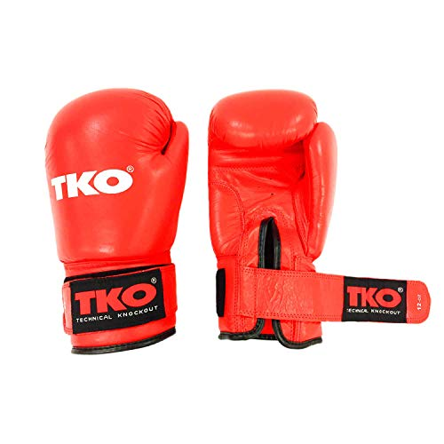 TKO Boxing Gloves Leather Pro Training Kick Sparring Punching Glove Red 14 oz