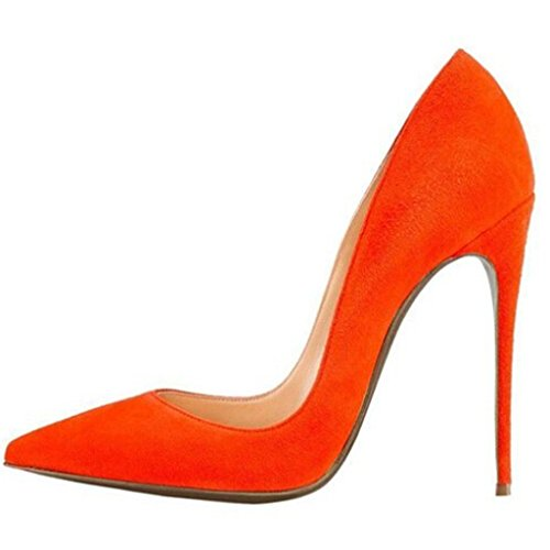 Büro Kleid High Jushee Stiletto Pumps Heels Orange Klassische Damen Sexy Schwarz 88qpf