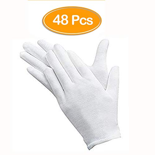48 Pcs White Gloves, ANDSTON 24 Pairs Soft Cotton