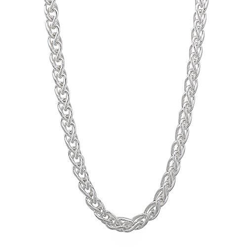 Wheat Spiga Chain (3.4mm 925 Sterling Silver Nickel-Free Wheat Spiga Chain, 20