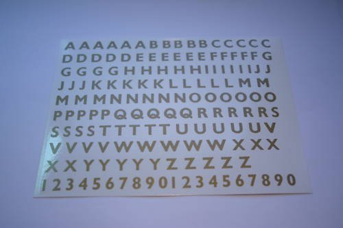 Gold Waterslide Transfer Letters and Numbers 6.3mm (1/4) high HB