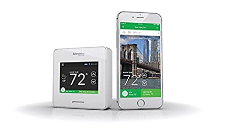 Home Improvement Schneider Electric Wiser Air Wi-Fi Smart Thermostat with Comfort Boost- White Schneider Electric Compatible with Alexa WISERAIR10WHTUS