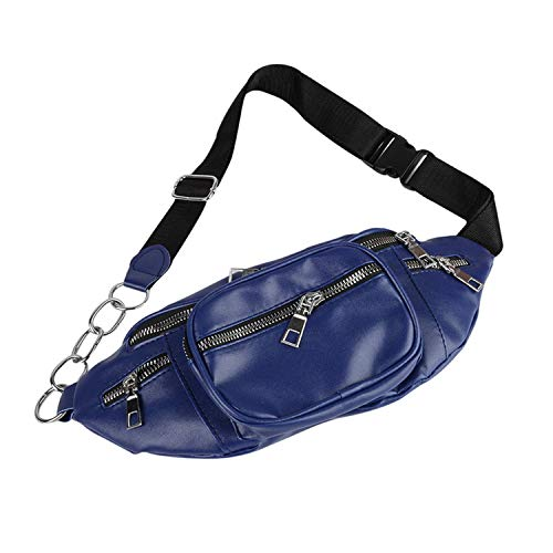 Pu Leather Zip Pouch Women Waist Bag Fashion Belt Chest Bag Travel Money Phone Bags For Ladies Female Luxury Funny Pack,Blue A