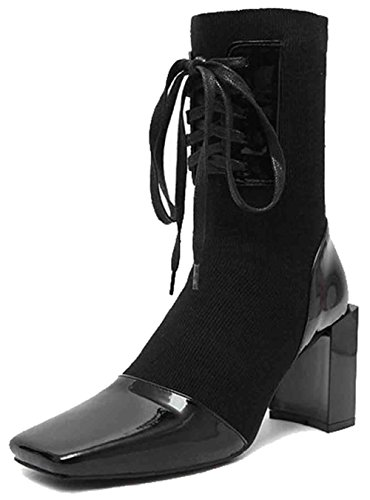 Easemax Kvinners Trendy Søm Frostet Firkantet Tå Høy Chunky Hæl Lace Up Boots Svart