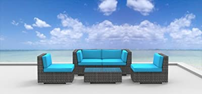 Urban Furnishing - RIO 5pc Modern Outdoor Backyard Wicker Rattan Patio Furniture Sofa Sectional Couch Set