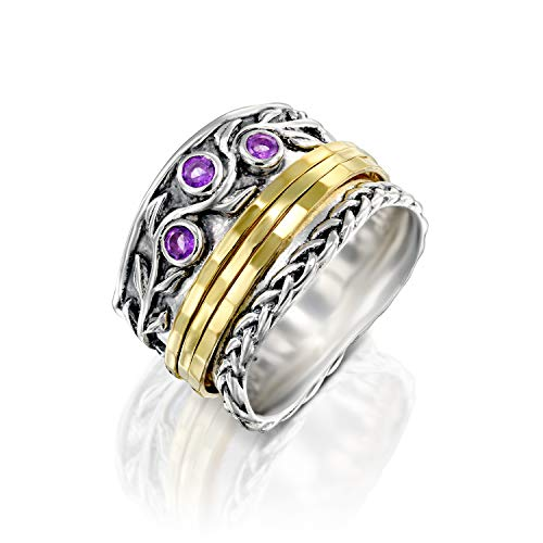 PZ Paz Creations 925 Sterling Silver Spinner Ring | Amethyst Gemstone February Birthstone | 14k Gold Plated Meditation Fidget Spinners | Two Tone Wide Band Design (6, Amethyst) ()