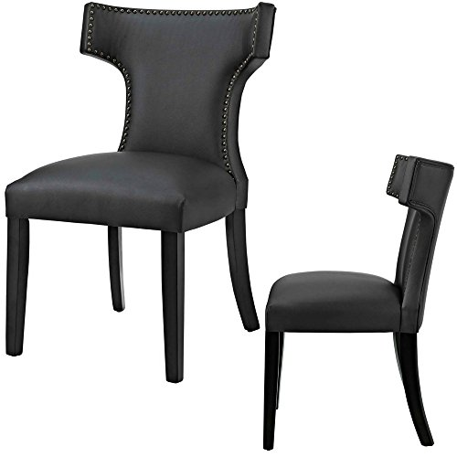 Upholstered Dining Chairs Wingback Mid Century With Nailheads Armless Black Vinyl Curve Accent Chair Contemporary Side Chair Sturdy Living Room Backrest Comfy Modern Minimal Wood & eBook By NAKSHOP