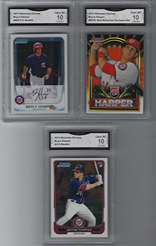 - BRYCE HARPER 3 CARD ROOKIE LOT BOWMAN CHROME & REFRACTOR GRADED GEM MINT10 MVP