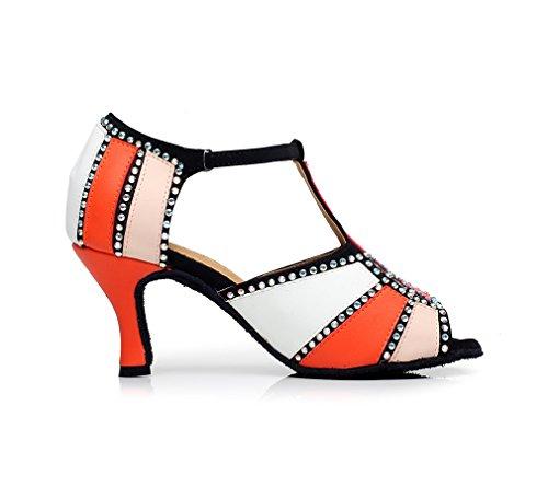 Dance Orange Block Latin Salsa QJ6211 Shoes Women's Color Minishion xpYz1Zqq