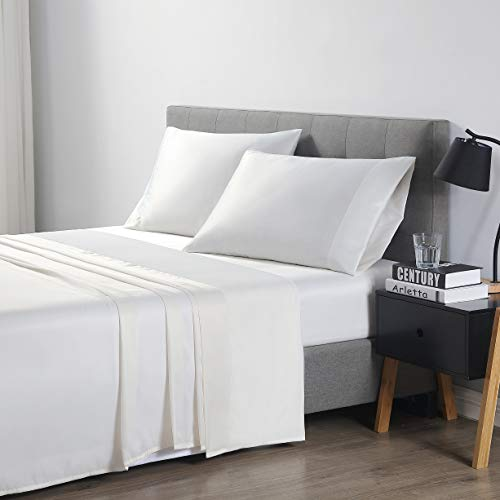 EXQ Home Bed Sheet Set King Size 4 Piece, Microfiber Satin Sheet & Pillowcase Set with Deep Pocket, Hotel Collection Luxury Bedding Ivory (Anti Wrinkle, Hypoallergenic, Wash-Resistant)