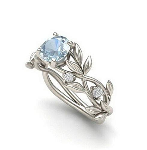 Waldenn Elegant Leaves Women Men 925 Silver Ring 2.1Ct Aquamarine Wedding Size 6-10 | Model RNG - 14523 | -