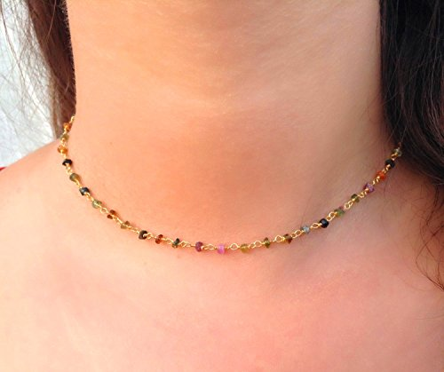 - Natural TOURMALINE Choker Necklace Faceted Rondelle Beads 24k Gold Plated Wire Wrapped Rosary Vermeil Chain. (14 Inch Choker Length)