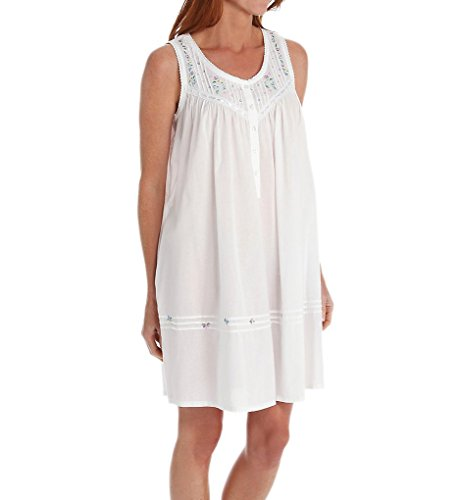 La Cera 100% Cotton Woven White Embroidered Short Gown 1163C